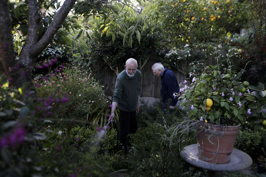 "Donald Bird, right, and David Young tend to their garden at their San Francisco home on Tuesday, June 23, 2015. ""Being in my garden is my relaxation and my meditation,"" Bird says. Photo: Dorothy Edwards, The Chronicle"