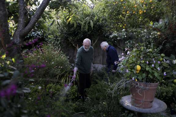 "Donald Bird, right, and David Young tend to their garden at their San Francisco home on Tuesday, June 23, 2015. ""Being in my garden is my relaxation and my meditation,"" Bird says."