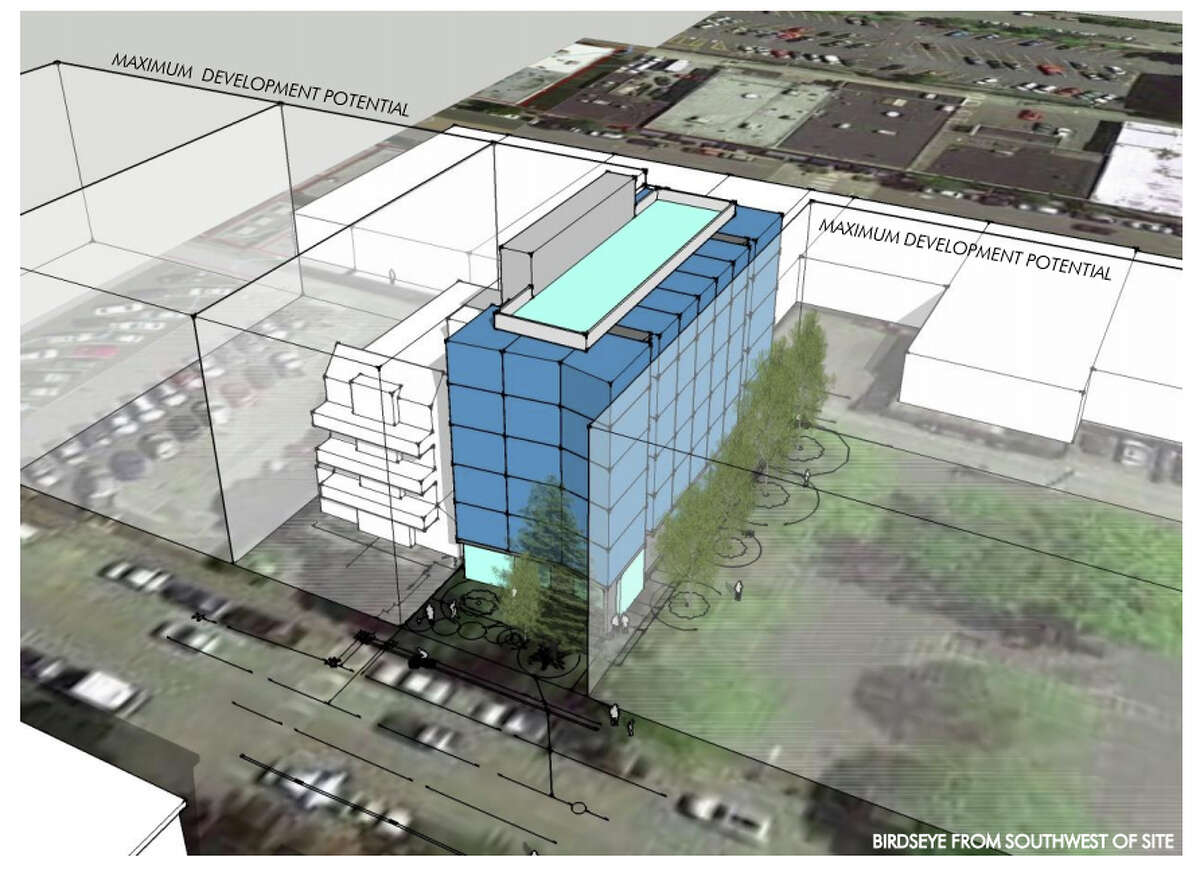 A proposed design for a new apartment building at 4528 44th Ave. S.W. in West Seattle. The building would include 58-or-more studio apartments. The illustration was submitted to the city of Seattle during the permitting process.
