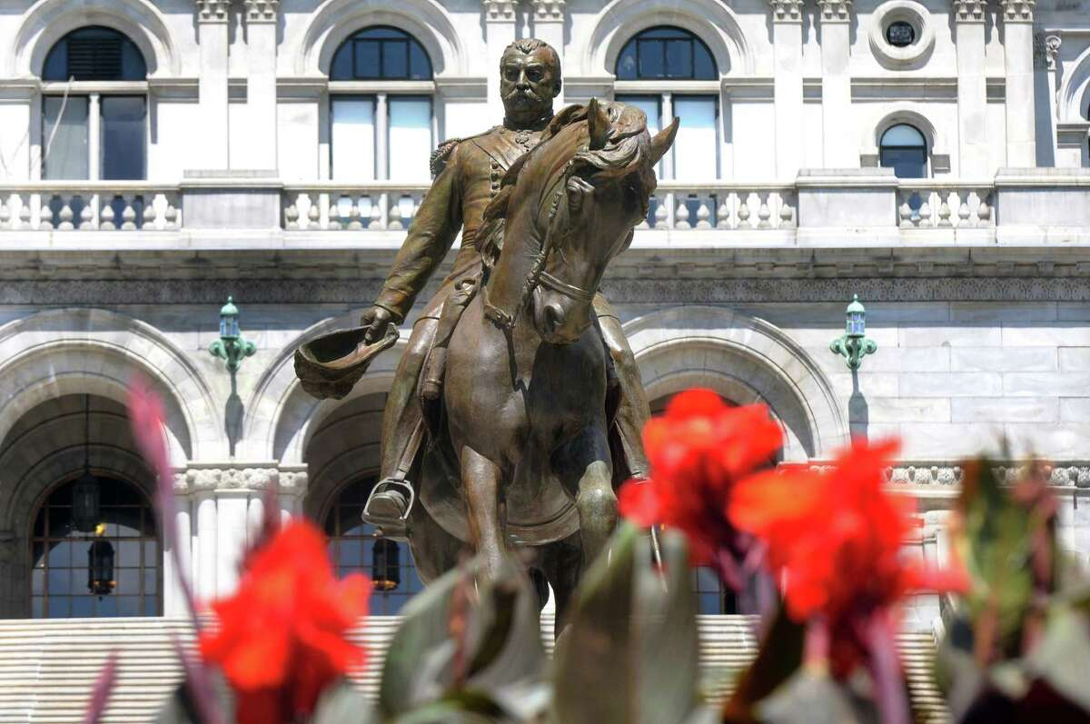 A statue of Philip Sheridan on his horse stands in front of the Capitol on Wednesday, June 24, 2015, in Albany, N.Y. (Cindy Schultz / Times Union)