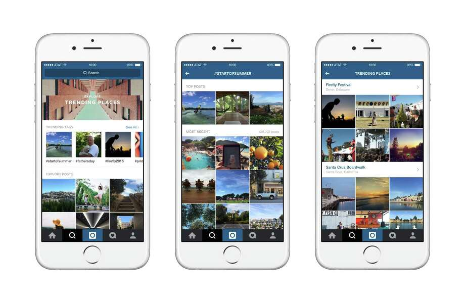 Screenshots of Instagram's new features showing users what events, hashtags and places are trending near them, along with top related photos and videos. On June 23, 2015, Instagram began tapping into the 70 million photos and videos posted daily to its service to put its 300 million users in the middle of current events. (Instagram via The New York Times) -- NO SALES; FOR EDITORIAL USE ONLY WITH STORY SLUGGED INSTAGRAM STREAM BY VINDU GOEL. ALL OTHER USE PROHIBITED. -- Photo: INSTAGRAM, HO / New York Times / INSTAGRAM