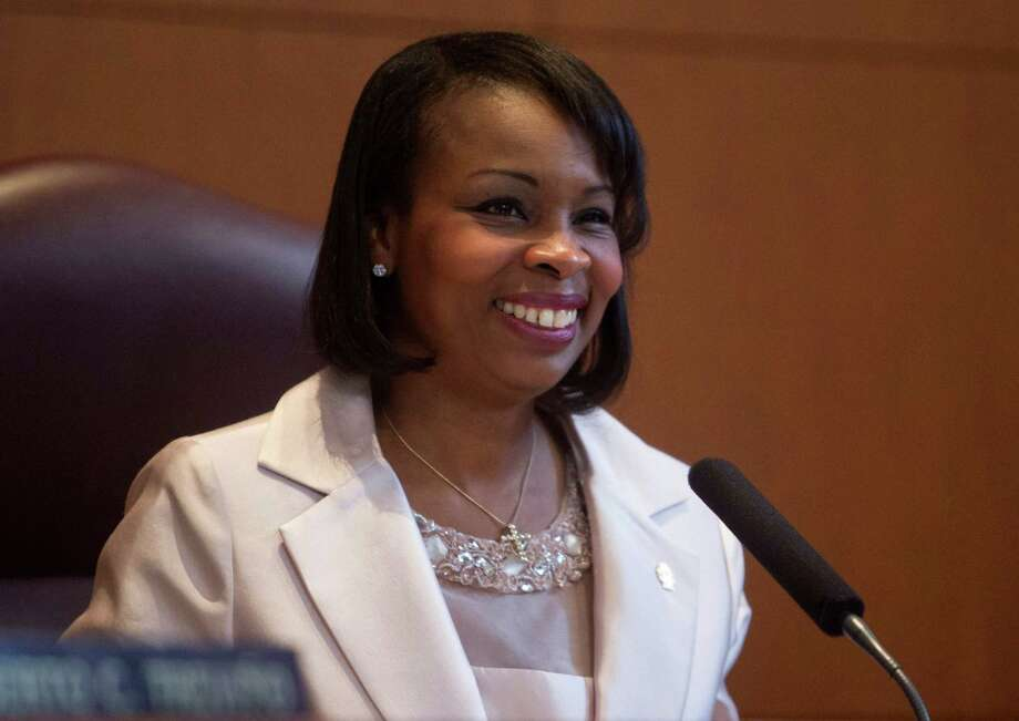 Mayor Ivy Taylor smiles during her remarks at her inauguration ceremony at City Hall in San Antonio, Texas. Ray Whitehouse / San Antonio Express-News Photo: Ray Whitehouse, San Antonio Express-News / 2015 San Antonio Express-News