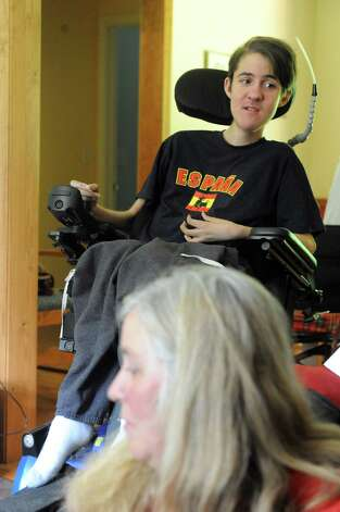 Jordan Klapp on Friday June 19, 2015 in Greenfield Center, N.Y. Jordan, a senior at Saratoga Springs High School, who is graduating in June,was diagnosed with Duchenne Muscular Dystrophy (DMD), a muscle wasting disease for which there is no current treatment or cure. He lost his oldest brother to DMD. His family is raising more than $50,000 to get him a robotic arm. (Michael P. Farrell/Times Union) Photo: Michael P. Farrell / 00032322A