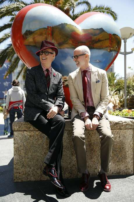 New York City's iconic fashion figure Patrick McDonald (left) and his brother Michael McDonald in Union Square in San Francisco, Calif., on Wednesday, June 24, 2015. Photo: Scott Strazzante, The Chronicle
