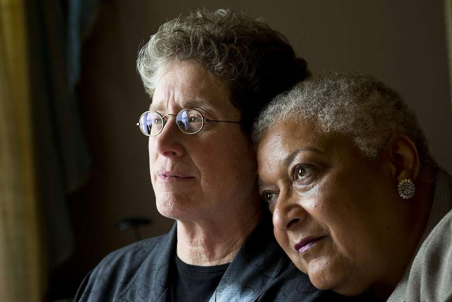 Diane Sabin and Jewelle Gomez pose for a portrait at their home on June 24, 2015 in San Francisco, Calif. Sabin and Gomez were married in 2004 and became plaintiffs in the original lawsuit when those marriages were ruled invalid. Photo: Erin Brethauer, The Chronicle