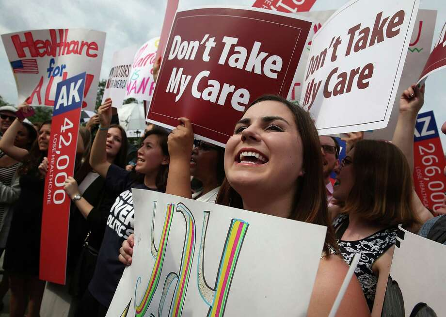 WASHINGTON, DC - JUNE 25:  People cheer in front of the US Supreme Court after ruling was announced on the Affordable Care Act. June 25, 2015 in Washington, DC. The high court ruled that the Affordabvle Care Act may provide nationwide tax subsidies to help poor and middle-class people buy health insurance. (Photo by Mark Wilson/Getty Images) Photo: Mark Wilson, Staff / Getty Images / 2015 Getty Images