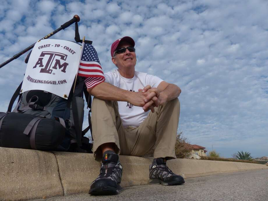 Retired Air Force Col. John Ball plans to walk from San Diego, Calif. to Daytona Beach, Fla. starting on March 1. Photo: Billy Calzada,  Staff / San Antonio Express-News /  San Antonio Express-News