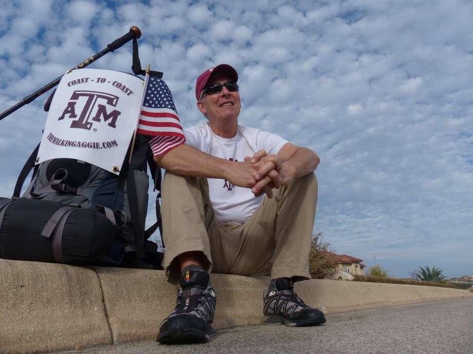 Retired Air Force Col. John Ball plans to walk from San Diego, Calif. to Daytona Beach, Fla. starting on March 1. Photo: Billy Calzada,  Staff / San Antonio Express-News /  San Antonio Express-News