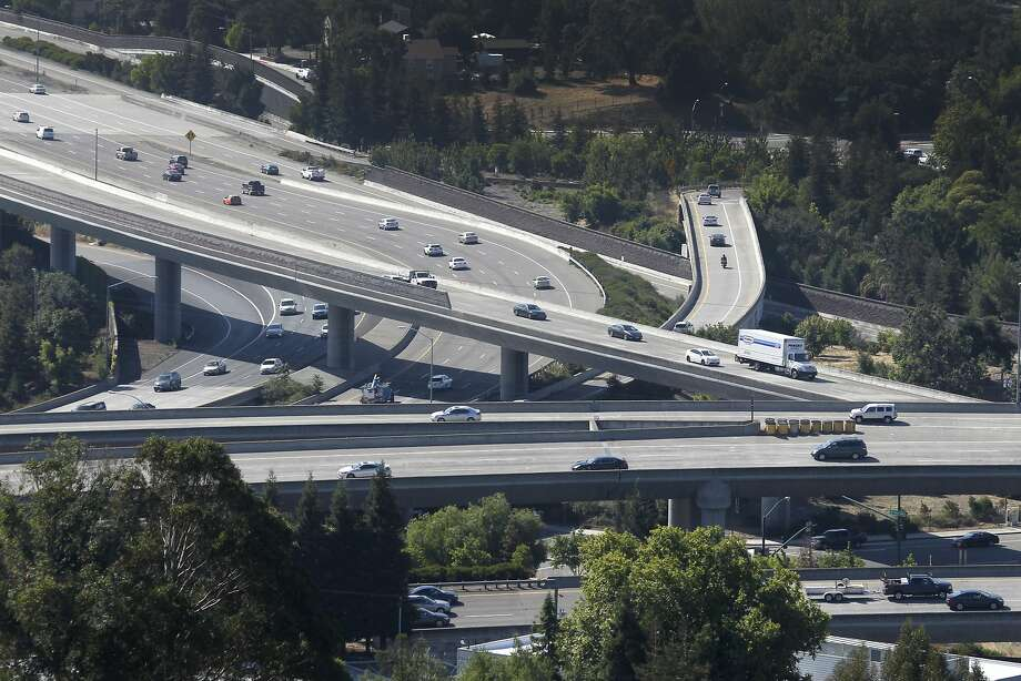 Commuters travel through the Interstate 680-Highway 24 interchange in Walnut Creek, Calif. on Thursday, June 25, 2015. Transportation is among the top concerns of Bay Area residents, according to a recent poll conducted by the Bay Area Council. Photo: Paul Chinn, The Chronicle