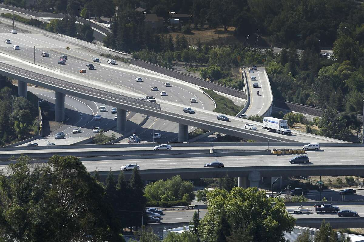 Commuters travel through the Interstate 680-Highway 24 interchange in Walnut Creek, Calif. on Thursday, June 25, 2015. Transportation is among the top concerns of Bay Area residents, according to a recent poll conducted by the Bay Area Council.