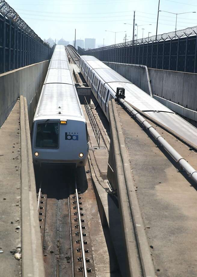 BART trains enter and exit the transbay tube in Oakland, Calif. on Thursday, June 25, 2015. Transportation is among the top concerns of Bay Area residents, according to a recent poll conducted by the Bay Area Council. Photo: Paul Chinn, The Chronicle