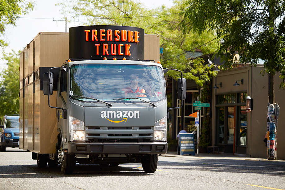 The Amazon Treasure truck features one unique item each day, several days a week. Customers can order the item and set a pick up time and location using their smartphones. Photo: Amazon.com