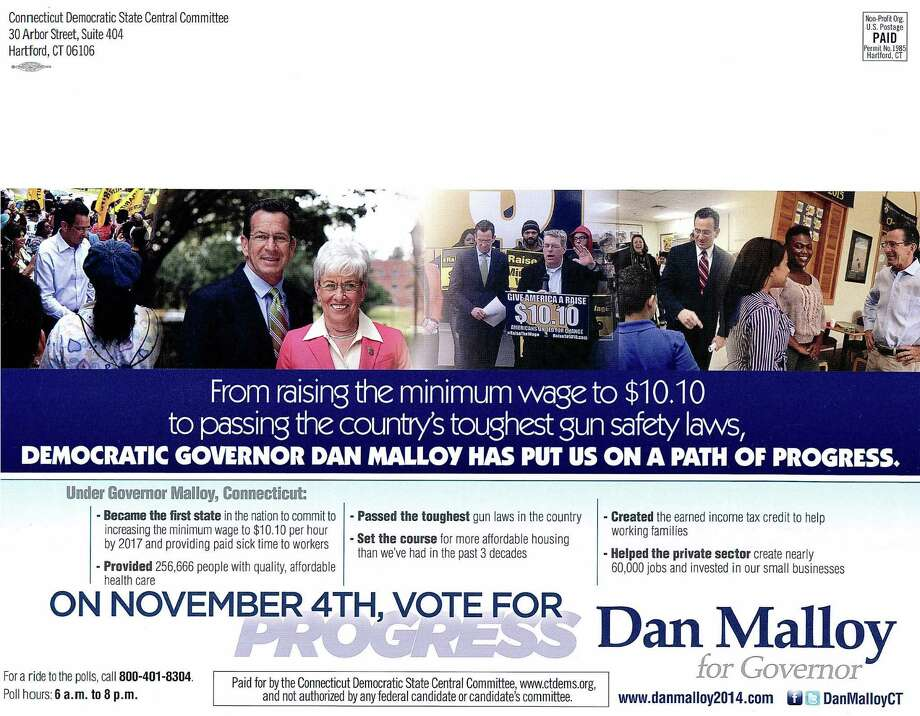 The State Elections Enforcement Commission voted unanimously on Thursday, June 25, 2015 to take the Democratic State Central Committee to state Superior Court over the controversial use of a federal account that paid for a Dannel Malloy mailer in the waning days of the 2014 gubernatorial election. Photo: Contributed / Contributed Photo / Connecticut Post Contributed