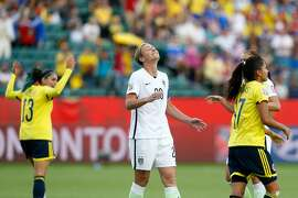 EDMONTON, AB - JUNE 22:  Abby Wambach #20 of the United States reacts after missing a penalty kick against Colombia in the second half in the FIFA Women's World Cup 2015 Round of 16 match at Commonwealth Stadium on June 22, 2015 in Edmonton, Canada.  (Photo by Todd Korol/Getty Images)
