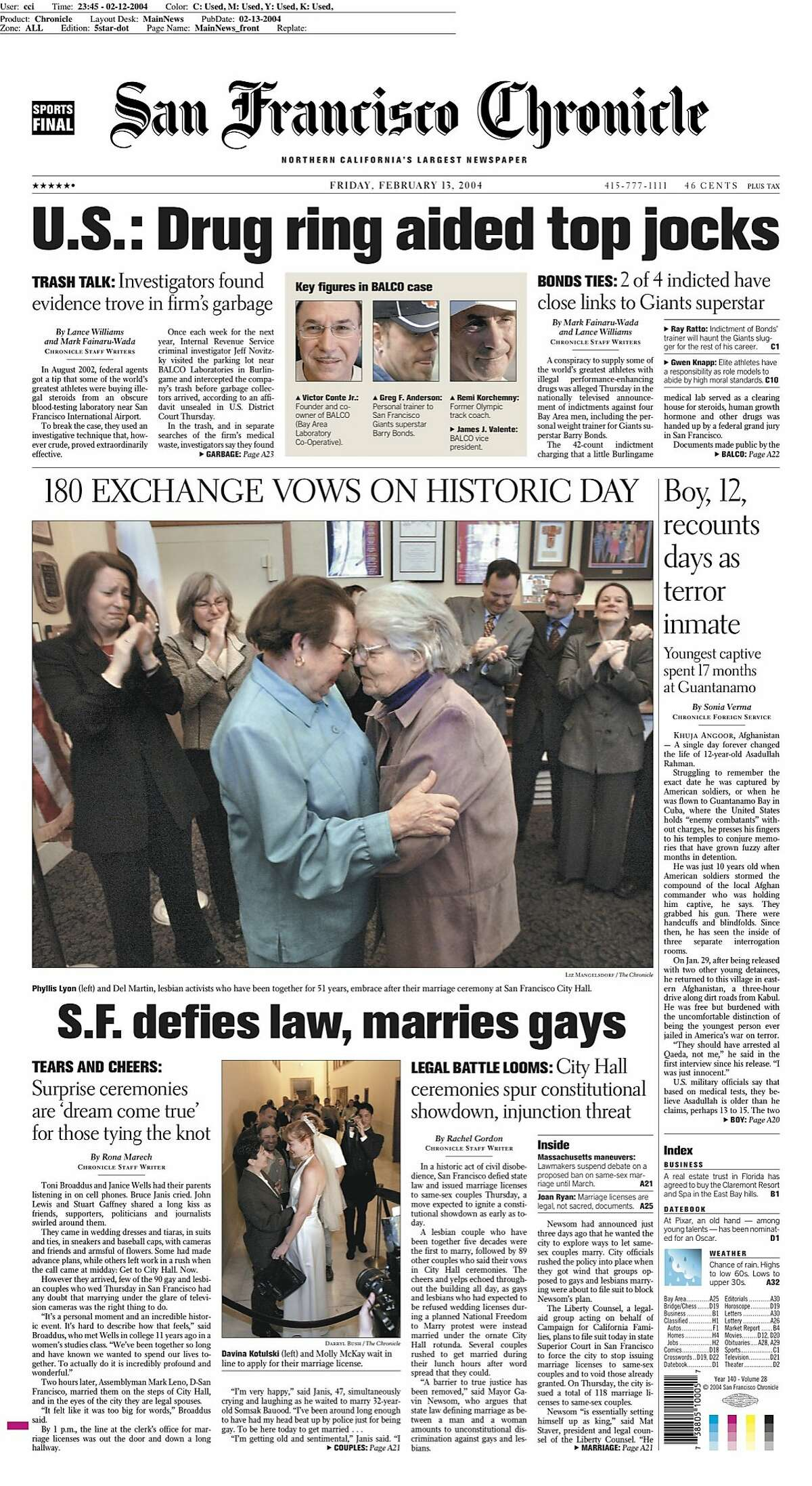San Francisco's historic decision to defy state law was featured on the front page of Feb. 13, 2004.
