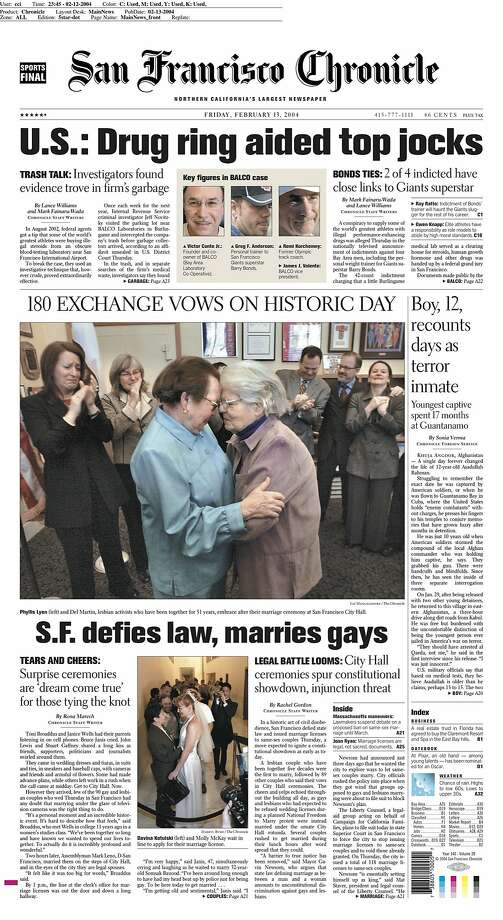 San Francisco's historic decision to defy state law was featured on the front page of Feb. 13, 2004. Photo: Chronicle