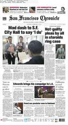 The Chronicle's front page from February 14, 2004 covers the response to then-Mayor Gavin Newsom's directive to issue marriage certificates to same-sex couples.