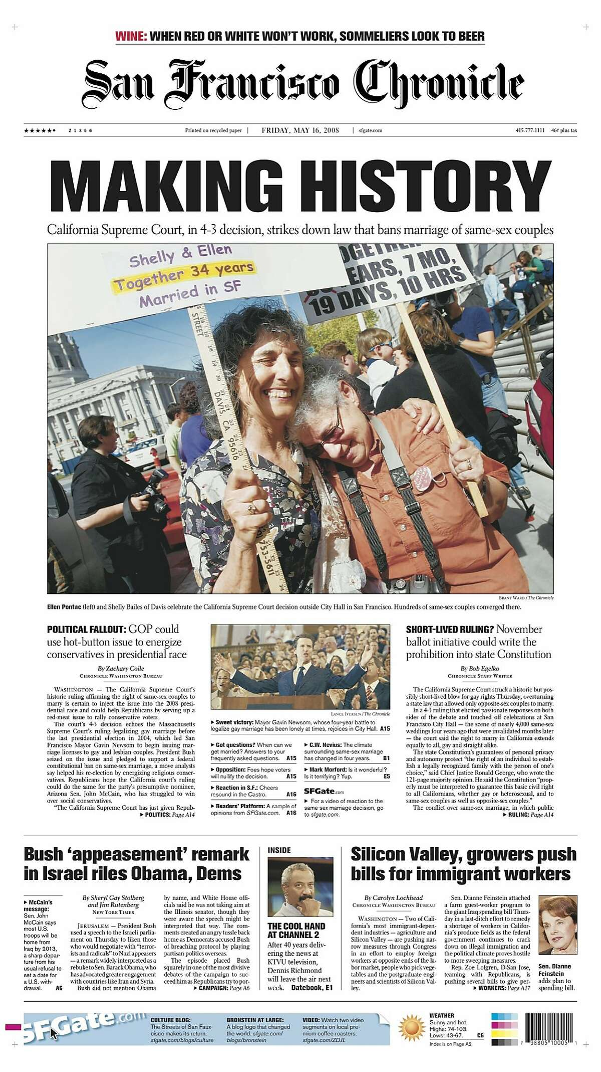 The Chronicle front page regarding same-sex marriage on May 16, 2008.