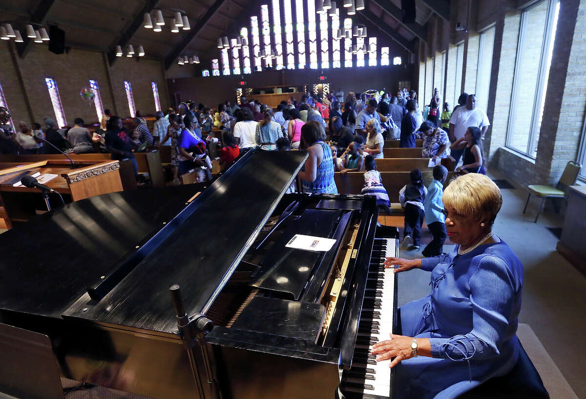 """Doloris """"Mama Dee"""" Williams performs during the Antioch Christian Academy graduation held Monday June 1, 2015, at Antioch Missionary Baptist Church."""