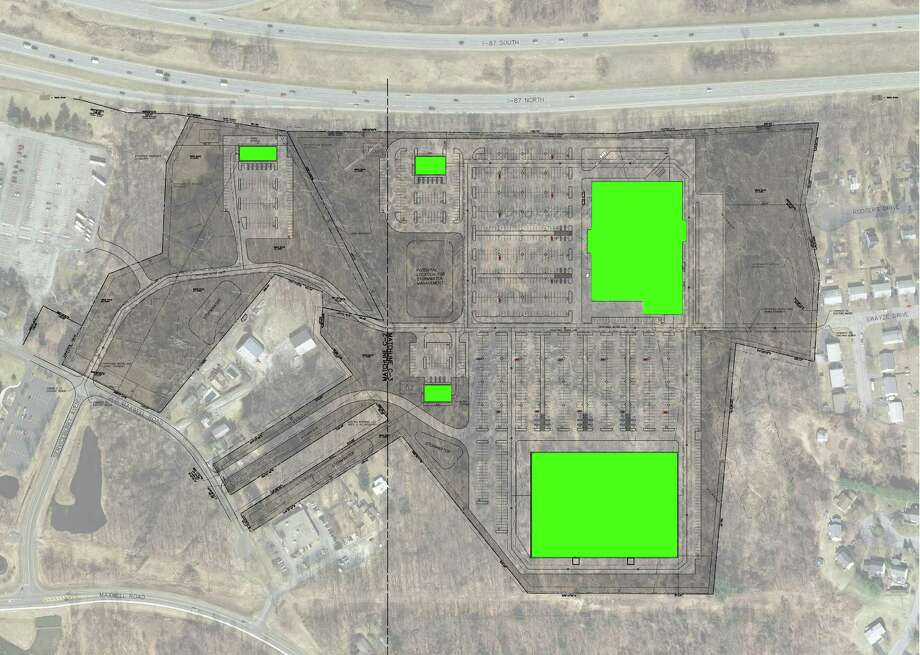 Site plan showing design for proposed retail development space between the Northway and Maxwell Rd. adjacent to the Times Union, which currently owns the property. (Town of Colonie) Photo: WW