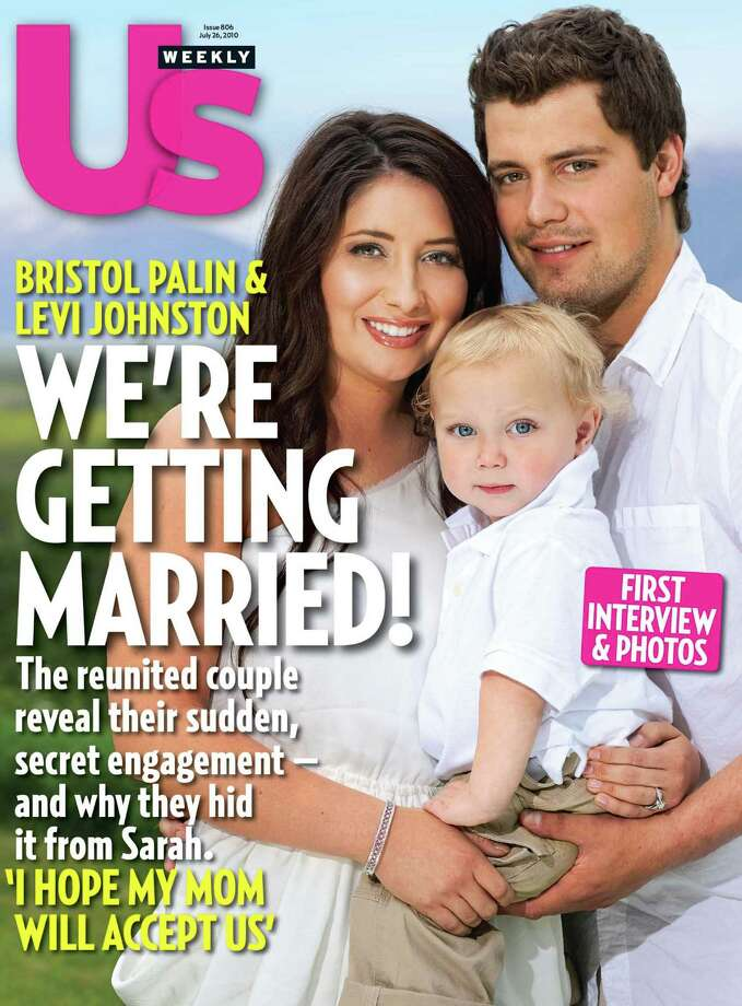 "In this magazine cover image released by Us Weekly, Bristol Palin, daughter of 2008 Republican vice-presidential candidate and former Alaska Gov. Sarah Palin, poses with Levi Johnston and their son Tripp on the cover of the July 26, 2010 issue of ""Us Weekly"" magazine. (AP Photo/Us Weekly) Photo: Associated Press / US Weekly"