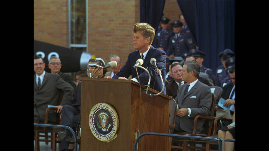 San Antonio, TX USA: President John F. Kennedy speaking at Brooks Medical Research Center.