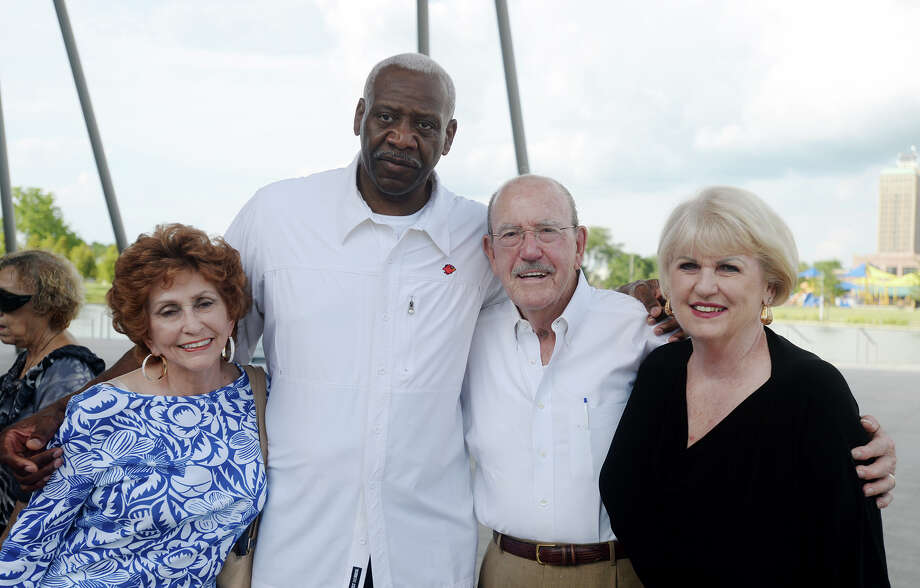 Nancy MacKool, Clarence Kea, and Bob and Sandy Bearb, left to right, pose for a photo Thursday afternoon. The Event Centre hosted the Jazz Innovators for the second Jazz on the Lake concert of 2015 on Thursday afternoon. The concert series, currently in its second year, will have its third and final performance of the season on July 23 with the Justin Pierce Band. Photo taken Thursday 6/25/15 Jake Daniels/The Enterprise Photo: Jake Daniels / ©2015 The Beaumont Enterprise/Jake Daniels
