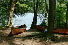 Hornbeck boats by a campsite on Henderson Lake in the Adirondack High Peaks. (Erika Scott / Special to the Times Union)