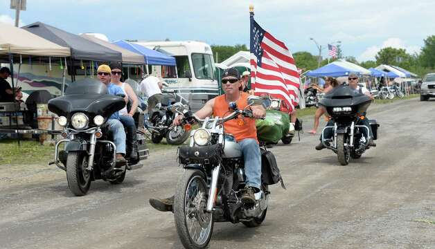 Motorcyclists from all over the country ride into the upper campgrounds at The Harley Rendezvous for the annual three day event Thursday June 25, 2015 in Duanesburg, NY.  (John Carl D'Annibale / Times Union) Photo: John Carl D'Annibale / 00032261A