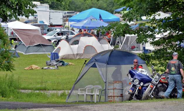 Motorcyclists from all over the country ride set up camp at The Harley Rendezvous for the annual three day event Thursday June 25, 2015 in Duanesburg, NY.  (John Carl D'Annibale / Times Union) Photo: John Carl D'Annibale / 00032261A