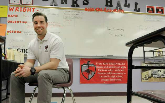 Corey Wright, a seventh and eighth grade social studies teacher, sits in his classroom at KIPP Tech Valley middle school on Tuesday, March 31, 2015, in Albany, N.Y.  (Paul Buckowski / Times Union) Photo: PAUL BUCKOWSKI / 00031207A