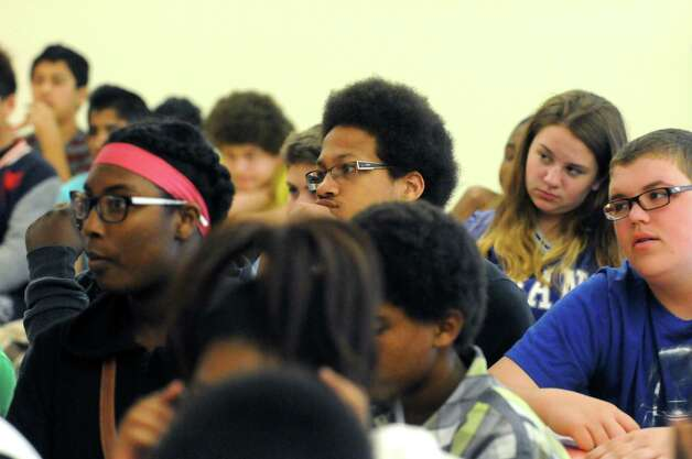 Eighth grade students listen as Principal Kimberly Young Wilkinson talks about educational performance at Myers Middle School Friday May 8, 2015 in Albany, N.Y. (Michael P. Farrell/Times Union) Photo: Michael P. Farrell / 00031733A