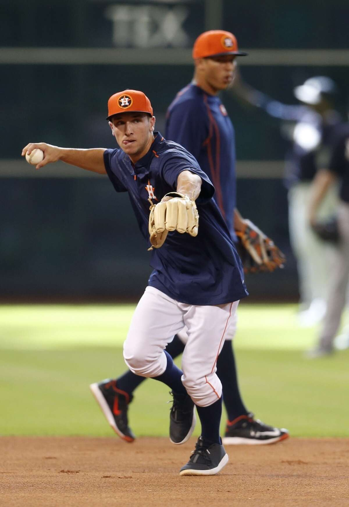 Houston Astros signed shortstop Alex Bregman, who was selected with the second overall pick in the 2015 MLB First Year Player Draft, after he took batting practice before the start of an MLB game at Minute Maid Park on Thursday, June 25, 2015, in Houston. ( Karen Warren / Houston Chronicle )