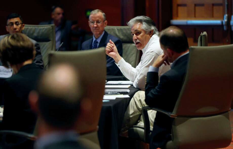 Distirct 4 city council member Rey Saldana speaks to his fellow council members Thursday morning June 25, 2015 during an all-day budget planning meeting at the convention center. Photo: William Luther, Staff / San Antonio Express-News / © 2015 San Antonio Express-News