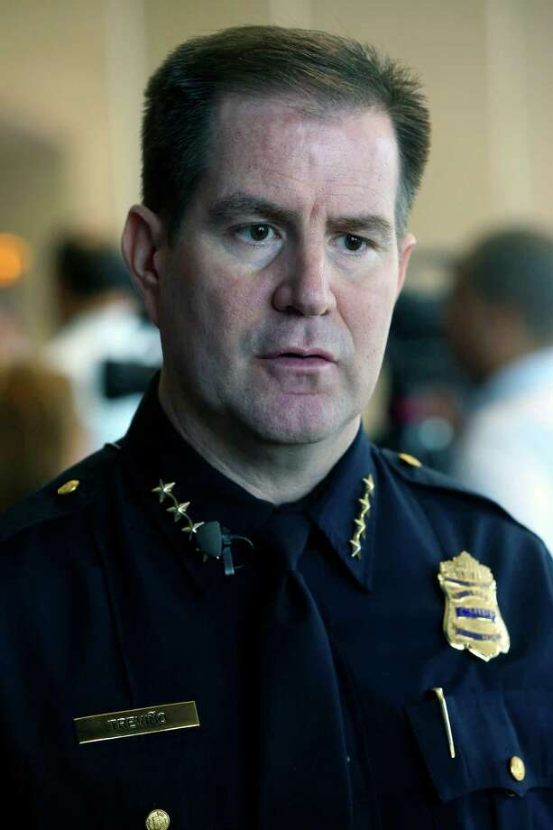San Antonio police chief Anthony Trevino speaks to the media Thursday morning June 25, 2015 during a break in an all-day budget planning meeting at the convention center. Photo: William Luther, Staff / San Antonio Express-News / © 2015 San Antonio Express-News