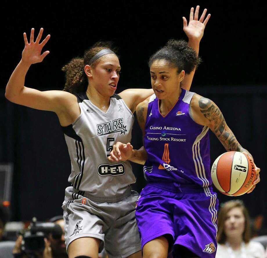 San Antonio Stars' Dearica Hamby defends Phoenix Mercury's Candice Dupree during first half action Thursday June 25, 2015 at the Freeman Coliseum. Photo: Edward A. Ornelas, Staff / San Antonio Express-News / © 2015 San Antonio Express-News