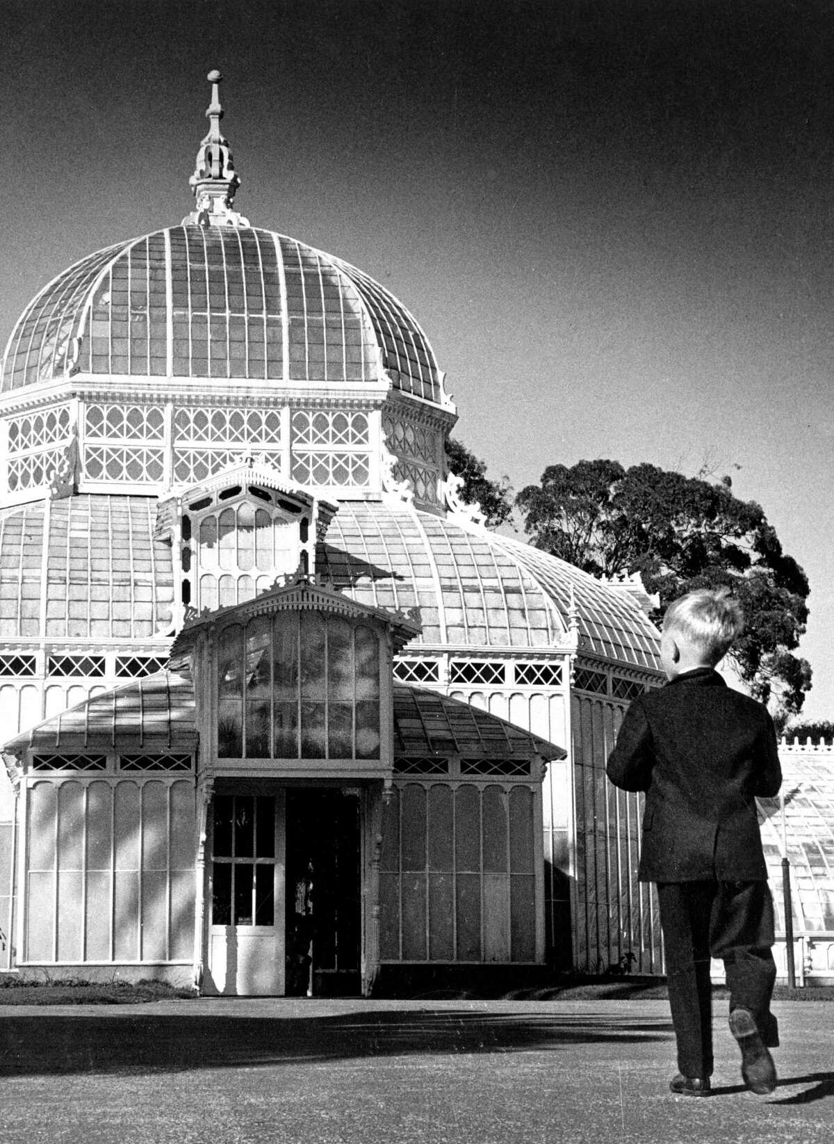 A boy stands outside at the Conservatory of Flowers in Golden Gate Park.