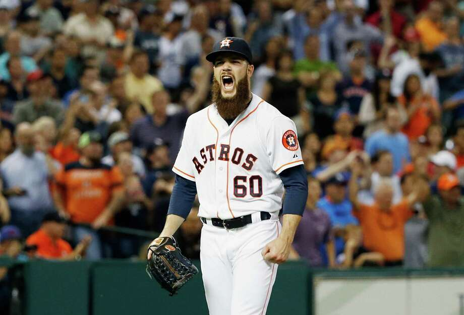 HOUSTON, TX - JUNE 25:  Dallas Keuchel #60 of the Houston Astros celebrates after a complete-game shutout as the Astros defeated the New York Yankees 4-0 at Minute Maid Park on June 25, 2015 in Houston, Texas.  (Photo by Scott Halleran/Getty Images) ORG XMIT: 538584327 Photo: Scott Halleran / 2015 Getty Images