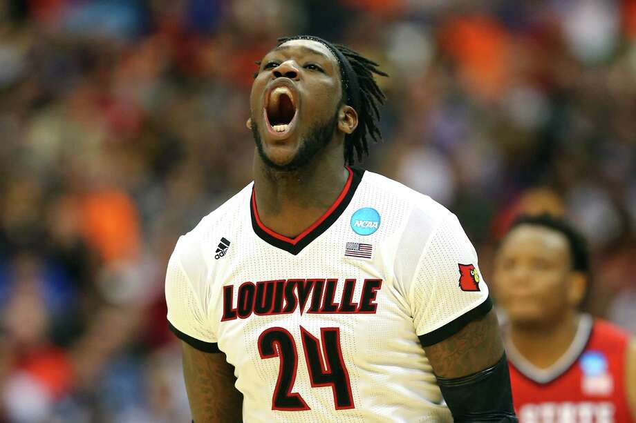 Louisville forward Montrezl Harrell was surprised but by no means disappointed Thursday night after finding out his new home will be Toyota Center. The Rockets used the 32nd pick to secure his services. Photo: Elsa, Staff / 2015 Getty Images