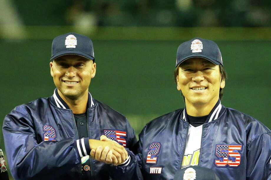 TOKYO, JAPAN - MARCH 21: Former New York Yankee players Derek Jeter (L) and Hideki Matsui pose for photographers during the Tomodachi Charity Baseball Game on March 21, 2015 in Tokyo, Japan. (Photo by Koji Watanabe/Getty Images) ORG XMIT: 543571033 Photo: Koji Watanabe / 2015 Getty Images