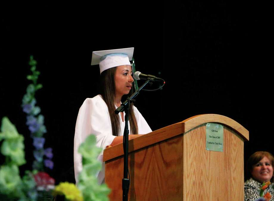 Senior Class Vice President Kathleen Kerner delivers closing remarks during Shenendehowa's commencement excersises at Saratoga Performing Arts Center on Thursday, June 25, 2015, in Saratoga Springs, N.Y. (Olivia Nadel/ Special to the Times Union) Photo: ON / 00032173A