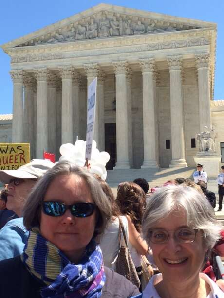 The two of us, in front of the Supreme Court. Photo: Courtesy Leah Lax