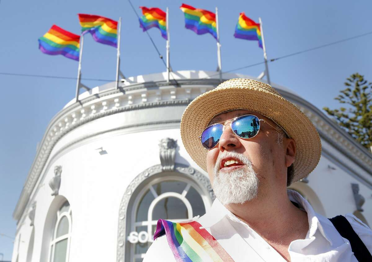 Gilbert Baker, creator of the Rainbow Flag, celebrates the Supreme Court's decision on gay marriage on Harvey Milk Plaza in the Castro neighborhood in San Francisco, California, on Friday, June 26, 2015.