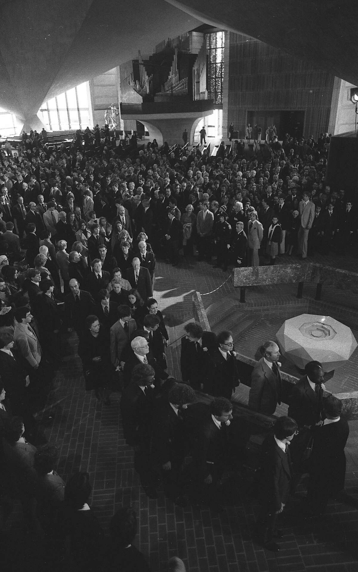 Moments that brought San Franciscans together Mourners came together in grief following the assassinations of Harvey Milk and George Moscone by Dan White on Nov. 27, 1978.  Above: Mayor George Moscone's casket carried out of the church following his funeral on Nov. 30, 1978.