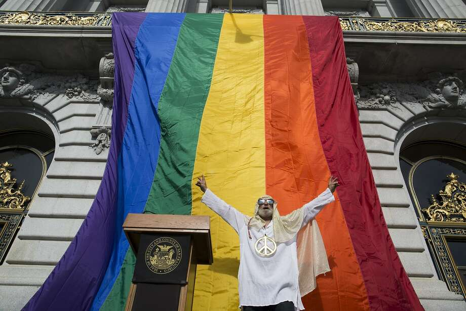Walter Gaylord shouts a message to the crowd before a press conference at City Hall in San Francisco, Calif. on Friday, June 26, 2015. The United States Supreme Court decided that gays and lesbians have the constitutional right to marry nationwide. Photo: Tim Hussin, Special To The Chronicle