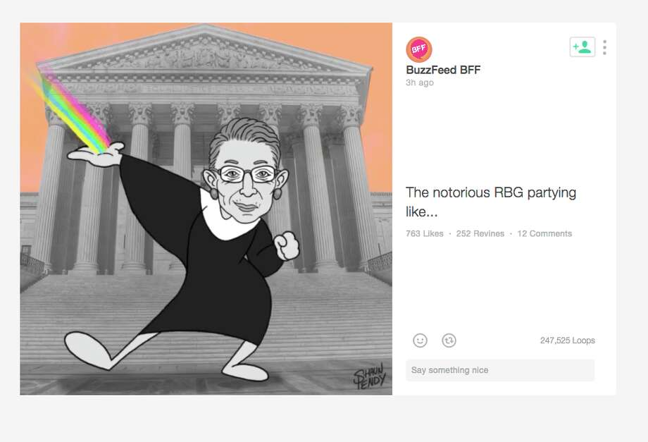 The notorious RBG partying like ... Photo: Screenshot,  BuzzFeed,  Vine