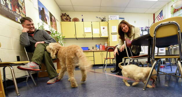 Labradoodle puppy Willow tugs on the lead of the mature service dog Miss Siggy as their handlers Keith VanWagenen, 5th grade teacher, left and school social worker Cahterine Ricchetti watch the play time at the Pine Bush Elementary School Tuesday morning Dec. 9, 2014 in Schenectady, N.Y.  Williow is being trained in the same style as elder Miss Siggy as a service dog to teach students  responsibility, as well as work with special needs children.  Willow is the second dog to be brought in to the program.    (Skip Dickstein/Times Union) Photo: SKIP DICKSTEIN, ALBANY TIMES UNION / 00029627A
