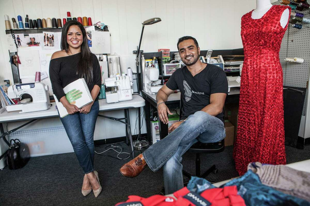 Damari Rubio and Umair Khan share a Houston studio. Rubio, who designs gloves, and Khan, who designs dresses, sometimes collaborate on projects.