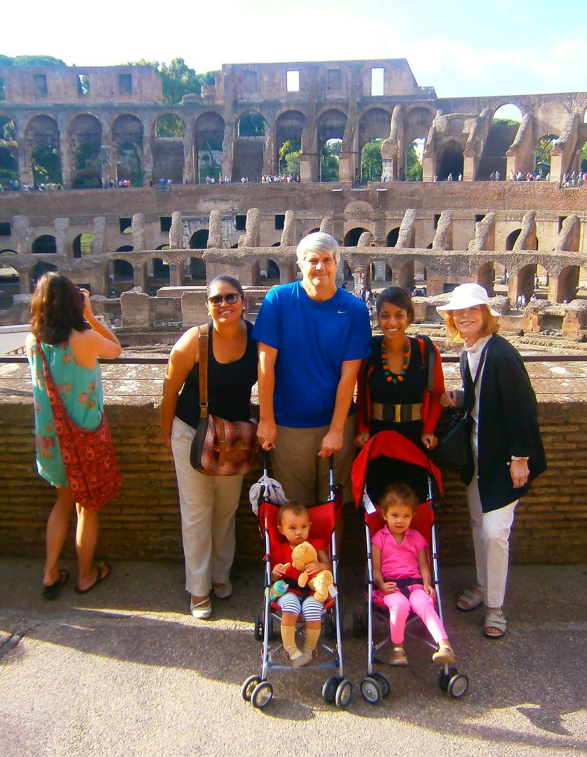 The Cuyler-Pecot family on vacation in Italy in 2013 with, from left, their former au pair Patricia Cerron, dad Devin Cuyler, mom Reese Pecot and Devin's mom Blythe Rainey-Cuyler. In the strollers are Quinn Cuyler, left, and Maxine Cuyler, right.