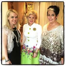 Opera Ball co-chair Jane Mudge (left) with Opera trustee Dede Wilsey and ball co-chair Karen Kubin prep for the Opera's 93rd season opener in September.  June 2015. By Catherine Bigelow.